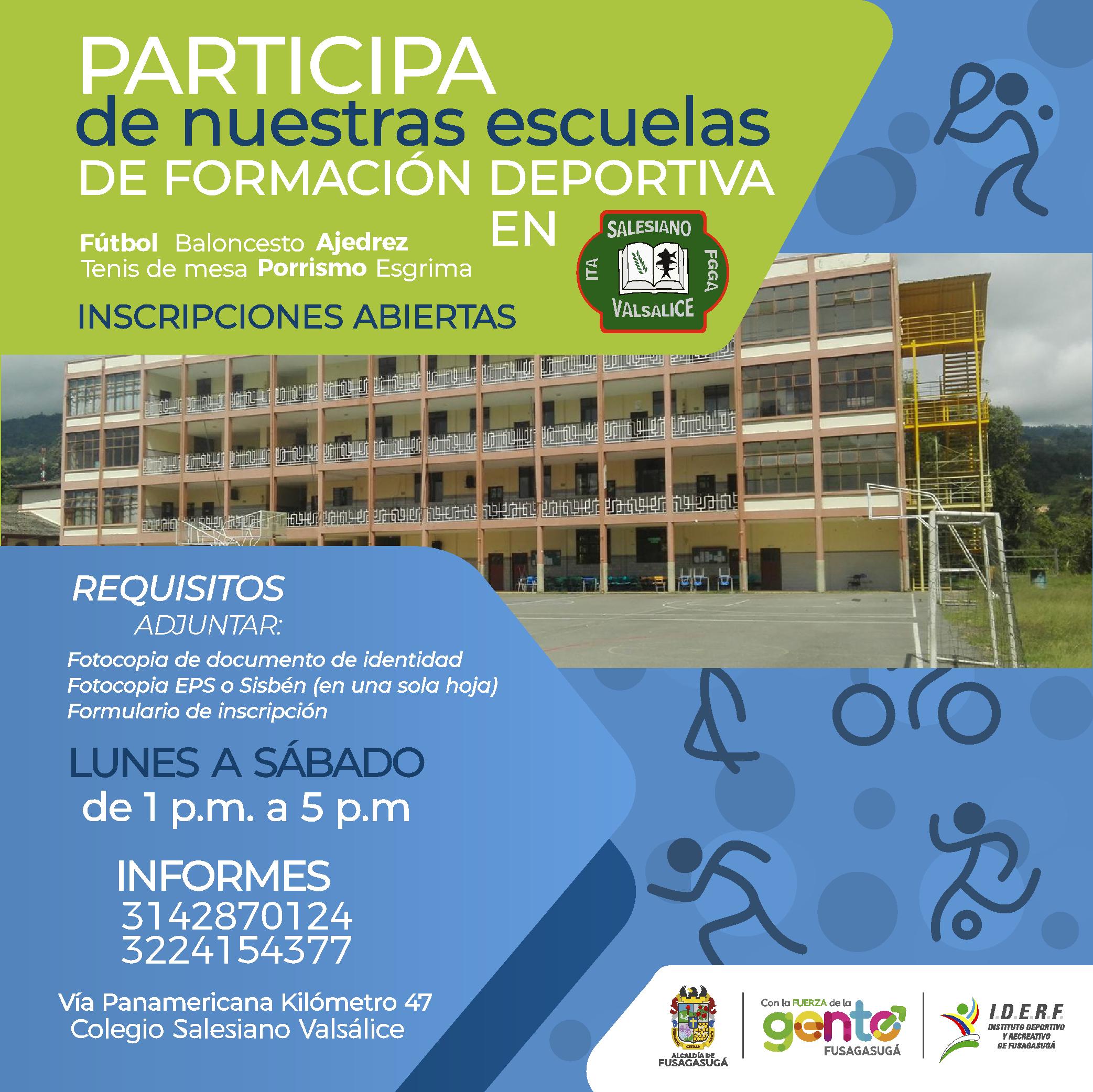 Colegio Valsálice nueva sede de escuelas de formación deportiva del IDERF.